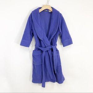 LL Bean Purple Fleece Bathrobe Kids Small (4)